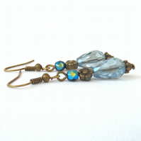 Blue teardrop crystal earrings, vintage style