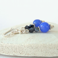 Cornflower blue jade and jet crystal earrings