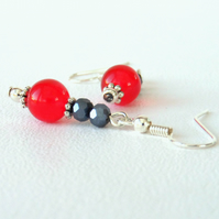 Red jade & jet crystal earrings