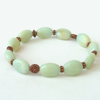 Amazonite & copper stretchy bracelet
