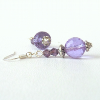 Lavender quartz and crystal earrings