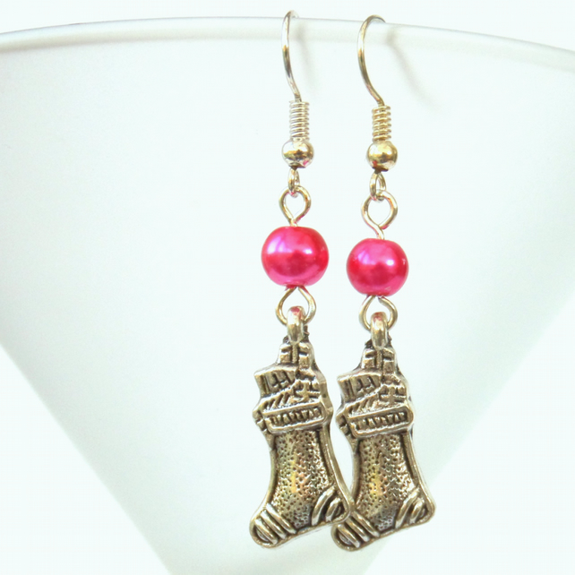 Novelty Christmas earrings with Christmas Stocking Charm Other colours available