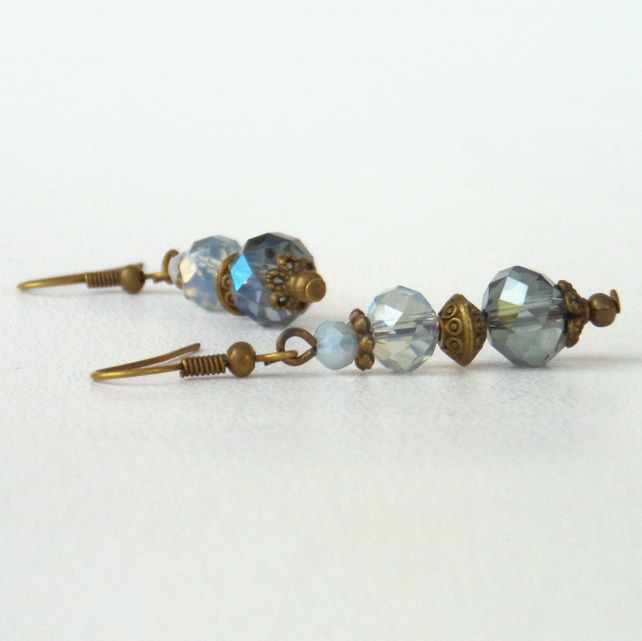 Dangly blue crystal bronze and earrings, vintage inspired
