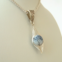 Wire wrapped necklace with blue fire agate
