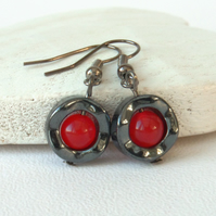 Hematite earrings with red jade, ideal gift for sister or best friend