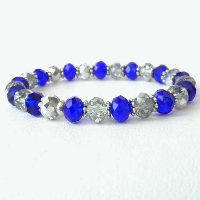 SALE: Silver and blue crystal stretchy bracelet