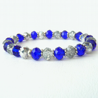 Silver and blue crystal stretchy bracelet