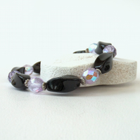 Black & lilac stretchy bracelet, with black onyx & lilac crystal