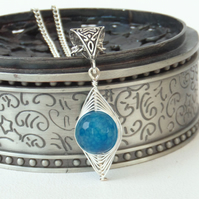 Wire wrapped blue agate necklace
