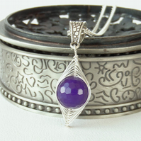 Wire wrapped gemstone necklace, with purple malayan jade