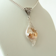 Peach crystal wire wrapped necklace