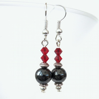Hematite & red Swarovski crystal earrings