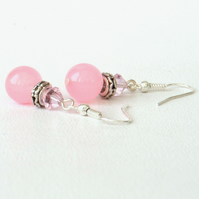 Pink jade earrings with crystals by Swarovski®