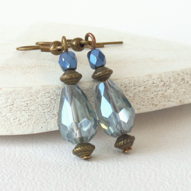 Blue crystal and bronze handmade earrings, vintage inspired