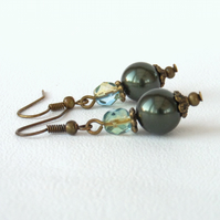 Shell and crystal bronze earrings, vintage style
