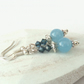 Blue jade and Swarovski crystal earrings