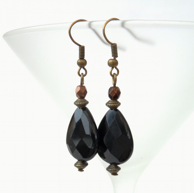 Black onyx and rich brown crystal bronze earrings, vintage style