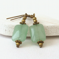 Green aventurine bronze earrings, vintage inspired