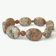 Jasper and copper handmade stretchy bracelet