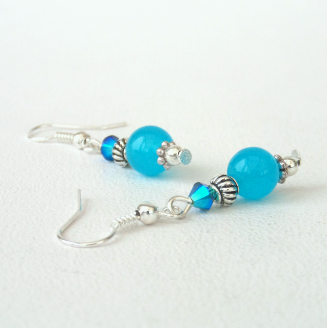 Blue jade earrings with crystals by Swarovski®