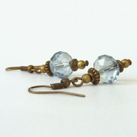 Delicate blue crystal bronze earrings, vintage inspired