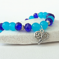 Blue gemstone and crystal stretchy bracelet, with heart charm