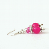 Fushia pink jade earrings with crystals by Swarovski®