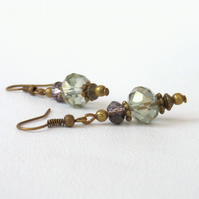 Olive green and amethyst crystal bronze earrings, vintage style