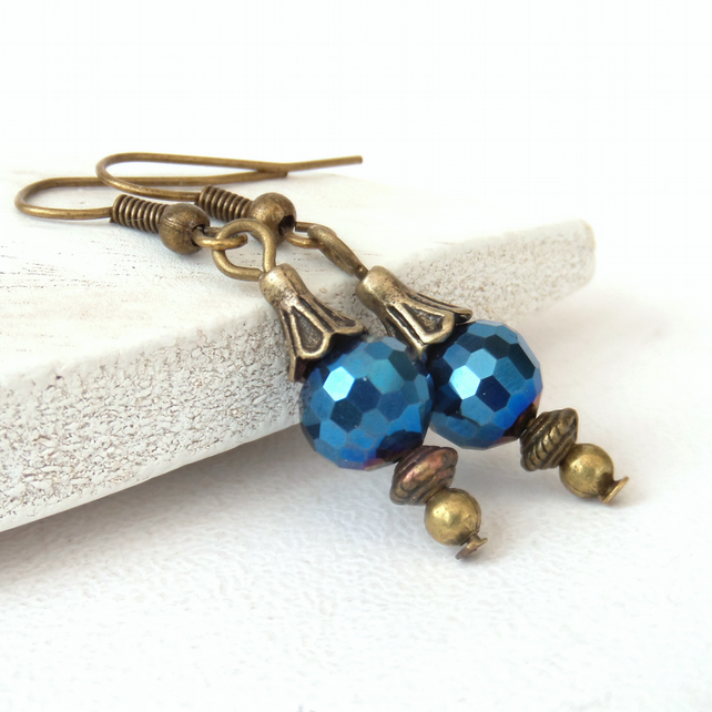 Sparkly blue crystal and bronze earrings, vintage inspired