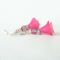Pink flower earrings
