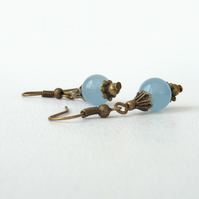 Blue jade bronze earrings, vintage style