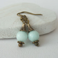 Pale turquoise jade bronze earrings, vintage inspired