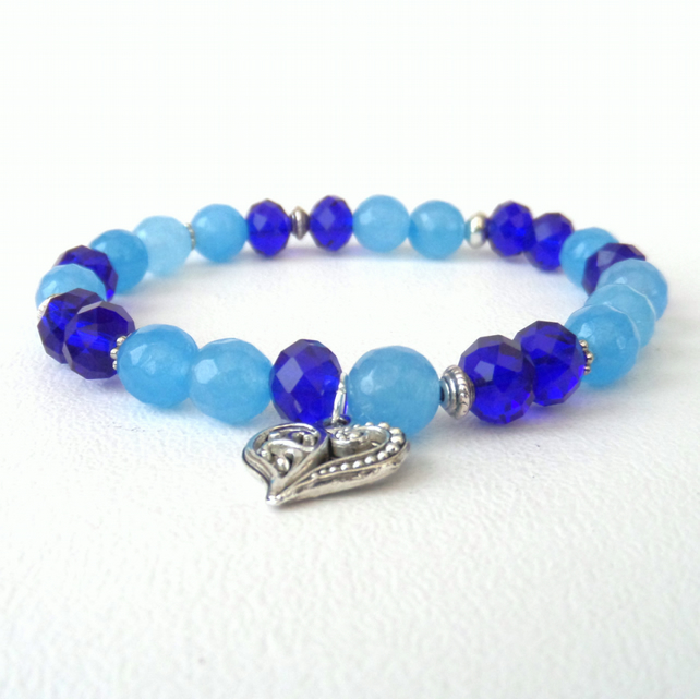 Blue gemstone & crystal stretchy bracelet with heart charm, ideal gift