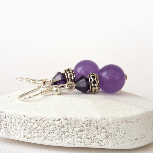 Purple gemstone and Swarovski® crystal earrings