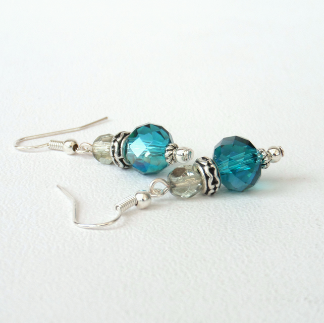 SALE: Blue-green and delicate green crystal earrings