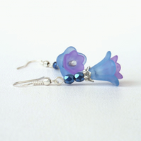 Blue and lilac flower earrings