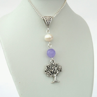 SALE: Tree charm necklace with pearl and purple jade