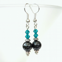 Hematite and Swarovski® crystal earrings