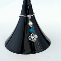 Heart charm necklace, with pearl and stunning blue agate