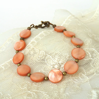 Peach shell coin bracelet