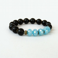 Black onyx and blue crystal stretchy bracelet