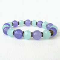 Purple and blue stretchy beaded bracelet