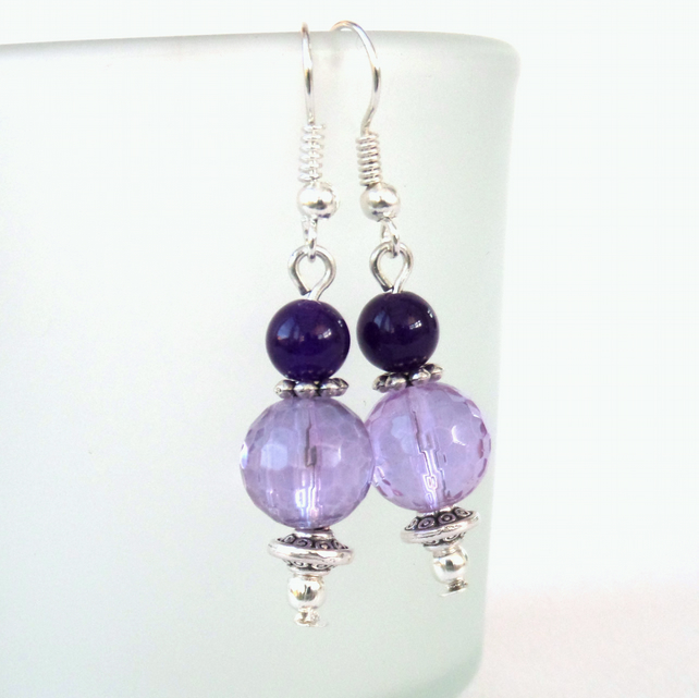 SALE: Purple quartz earrings