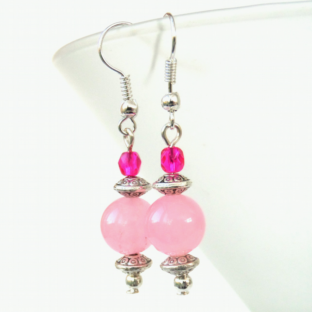 Pink gemstone and crystal earrings