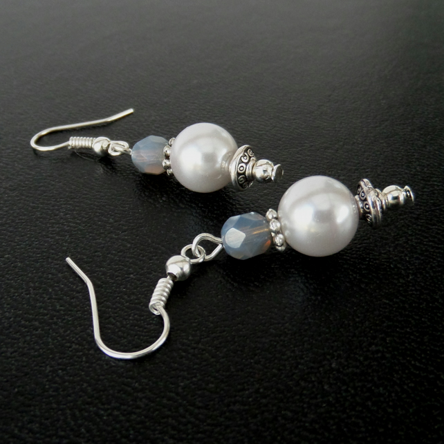 White shell pearl blue crystal earrings