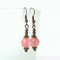 Cherry quartz and bronze earrings, vintage inspired