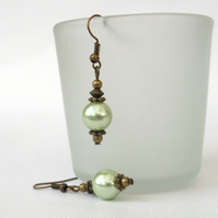 Green shell pearl and bronze earrings, vintage inspired