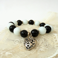 Black and white monochrome charm bracelet