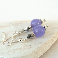 Purple and silver handmade earrings