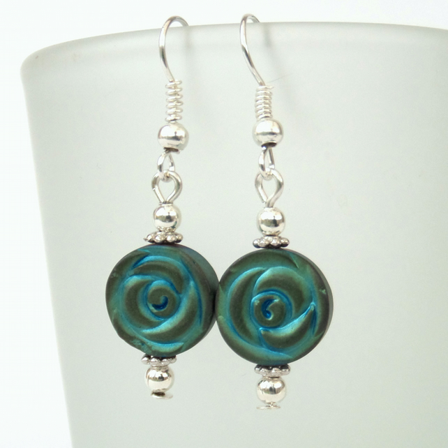 Turquoise coloured hematite earrings
